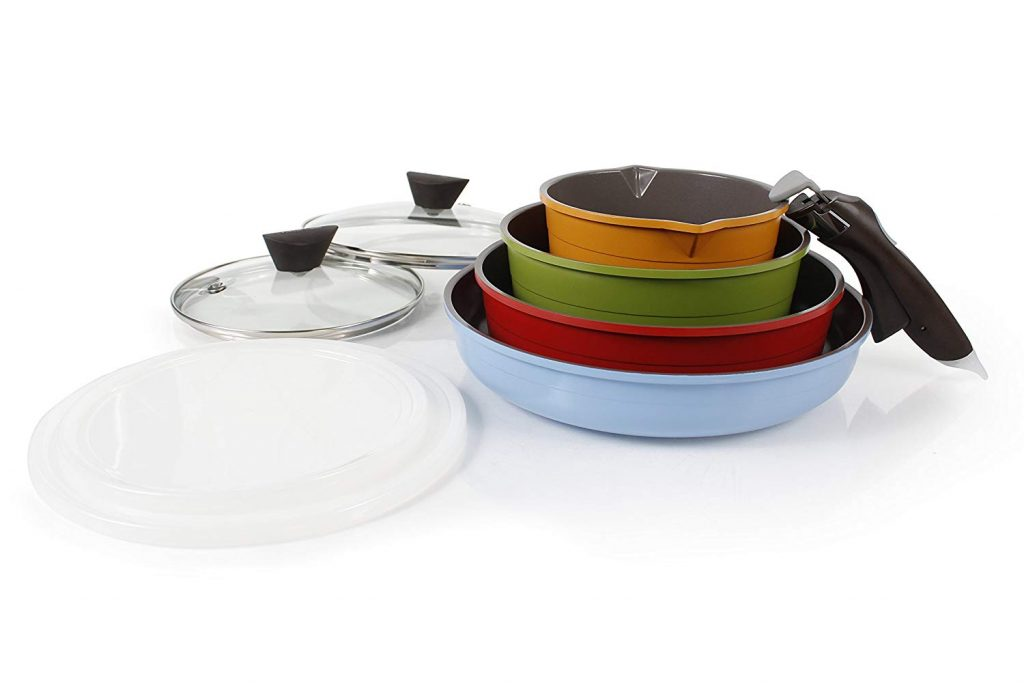 ceramic non - stick stackable pans for space saving