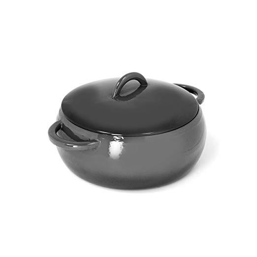 Cast iron enamel coated dome casserole 4.7 quartz, gray