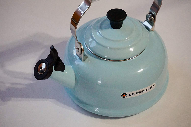 Le Creuset Enamel best tea kettle for glass cooktop, made of steel , whistling kettle