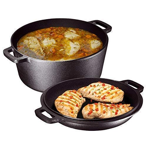 Cast iron double dutch oven sauce pan