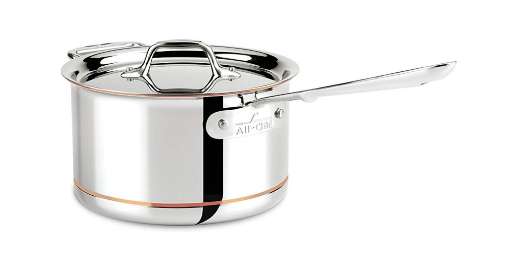 All-clad copper core bonded dishwasher safe double handle saucepan
