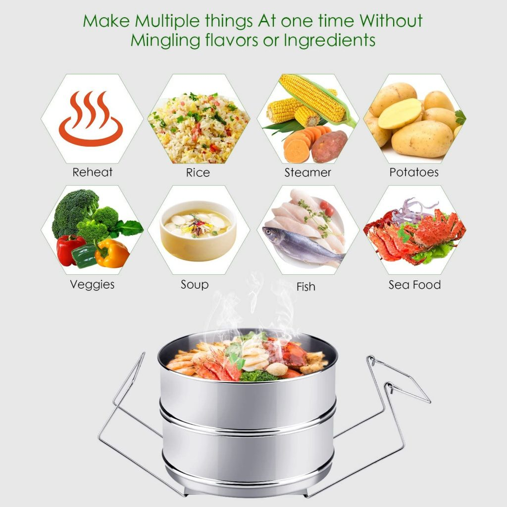 Instant Pot with steamer used for various cooking
