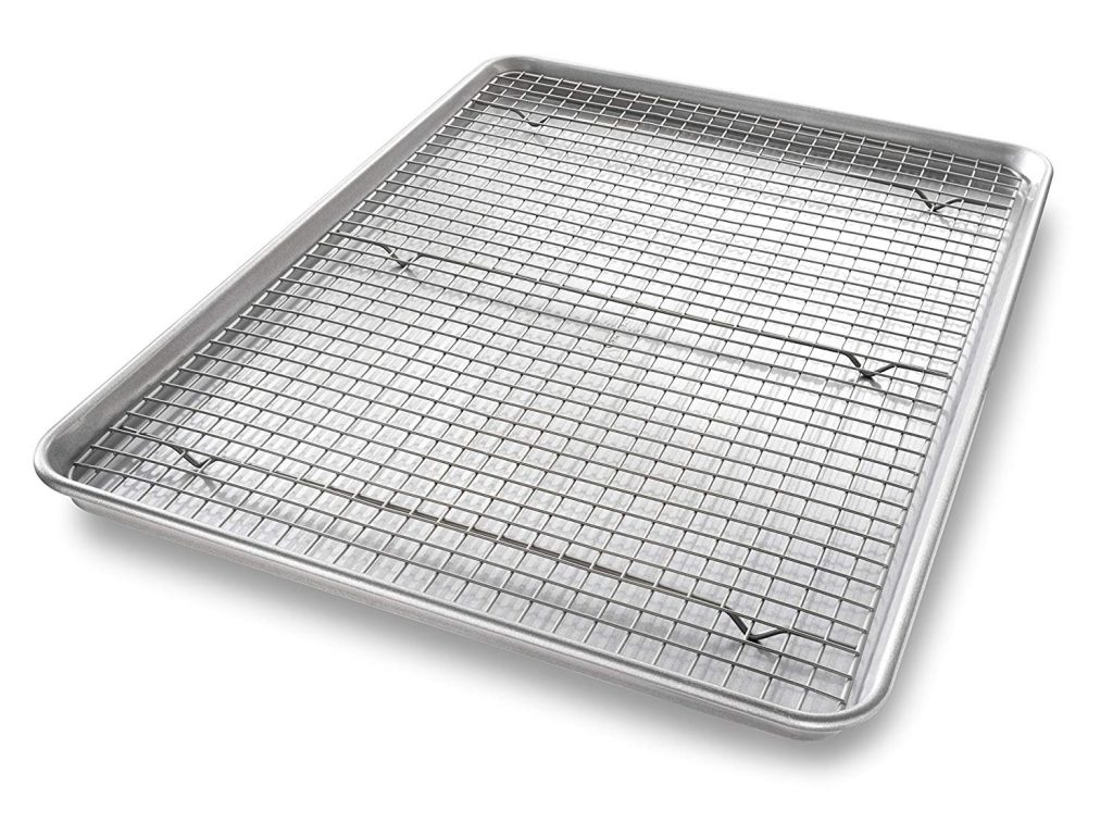 Extra large Sheet Baking Pan, Non stick Rack as best baking sheet for roasting vegetables