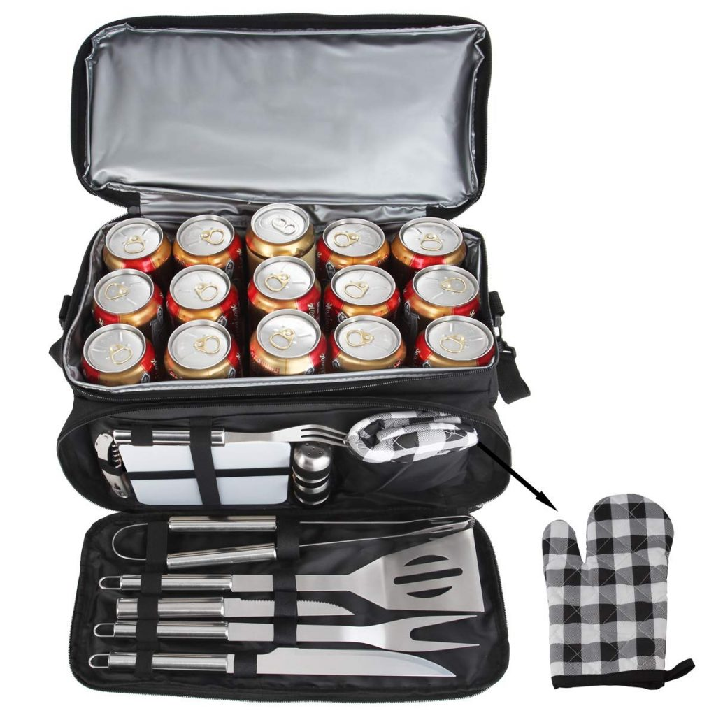 12 pcs Barbecue grill accessories set with camping stainless steel and waterproof bag. Best outdoor cooking gifts for weddings men and women