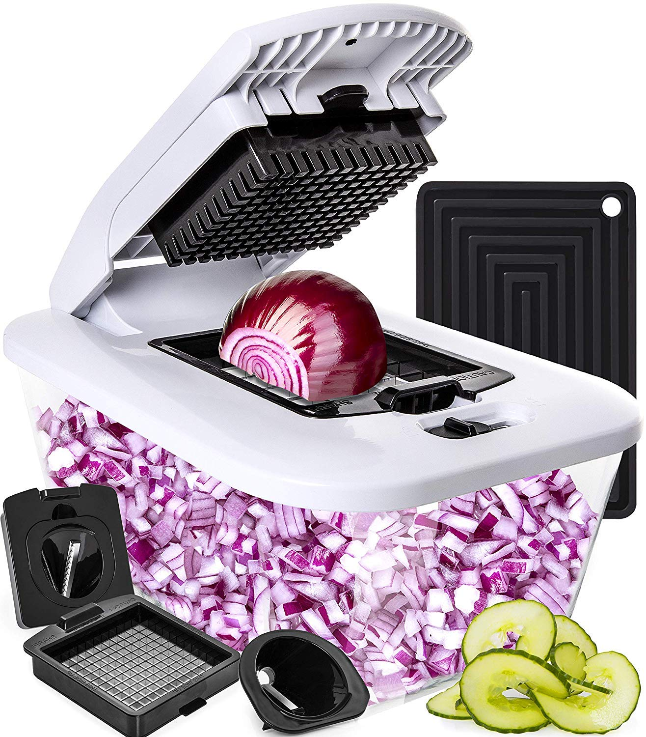 Fullstar vegetable chopper and spiralizer with large glass container