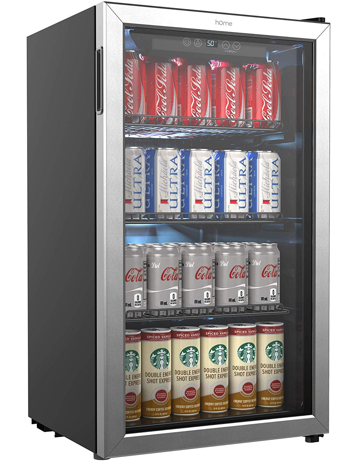 Homelabs beverage and mini fridge with glass door, one of the 7 best refrigerator for beverages and beer bottles.