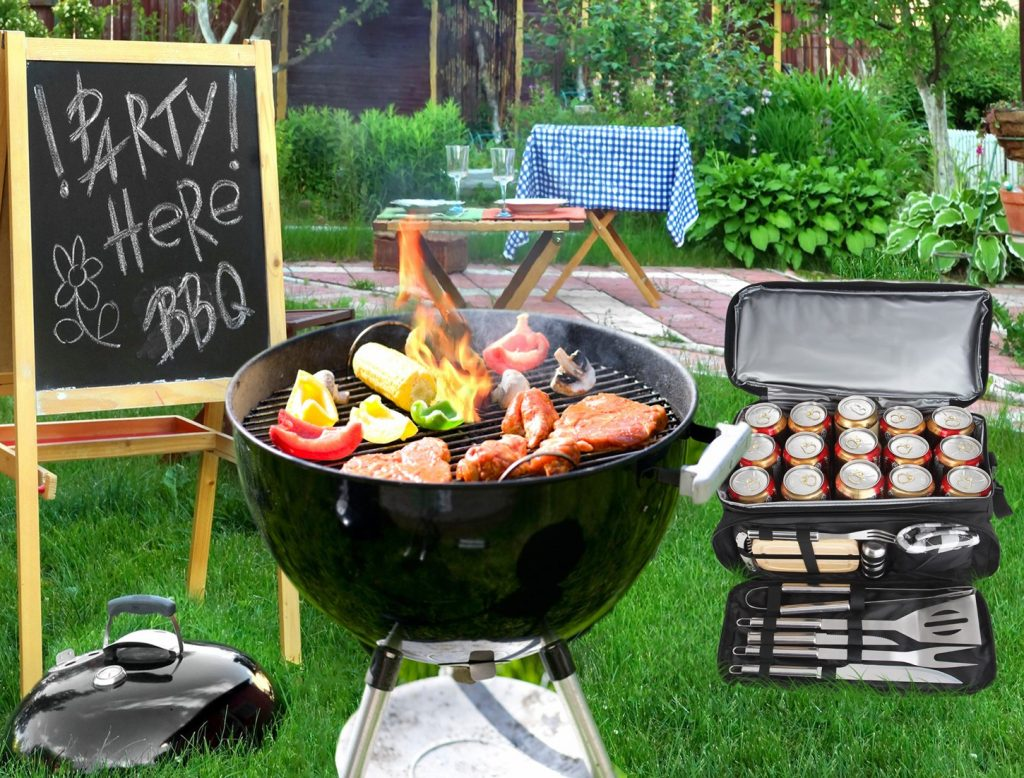 Picture of Poligo Barbecue Grill Accessories tools with camping bag that can be used as an outdoor cooking gifts for weddings men and women