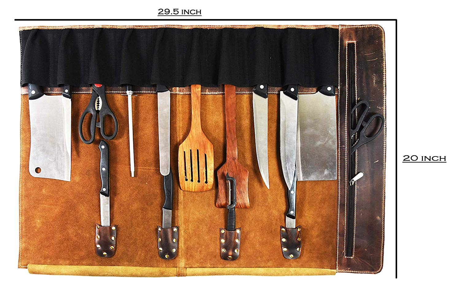 Bag for knive storage used as a knife block set and organizer