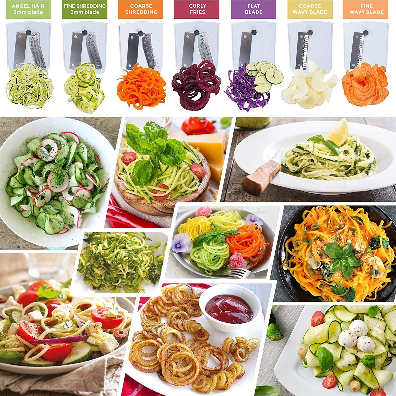 Sample of vegetable sliced using spiralizer