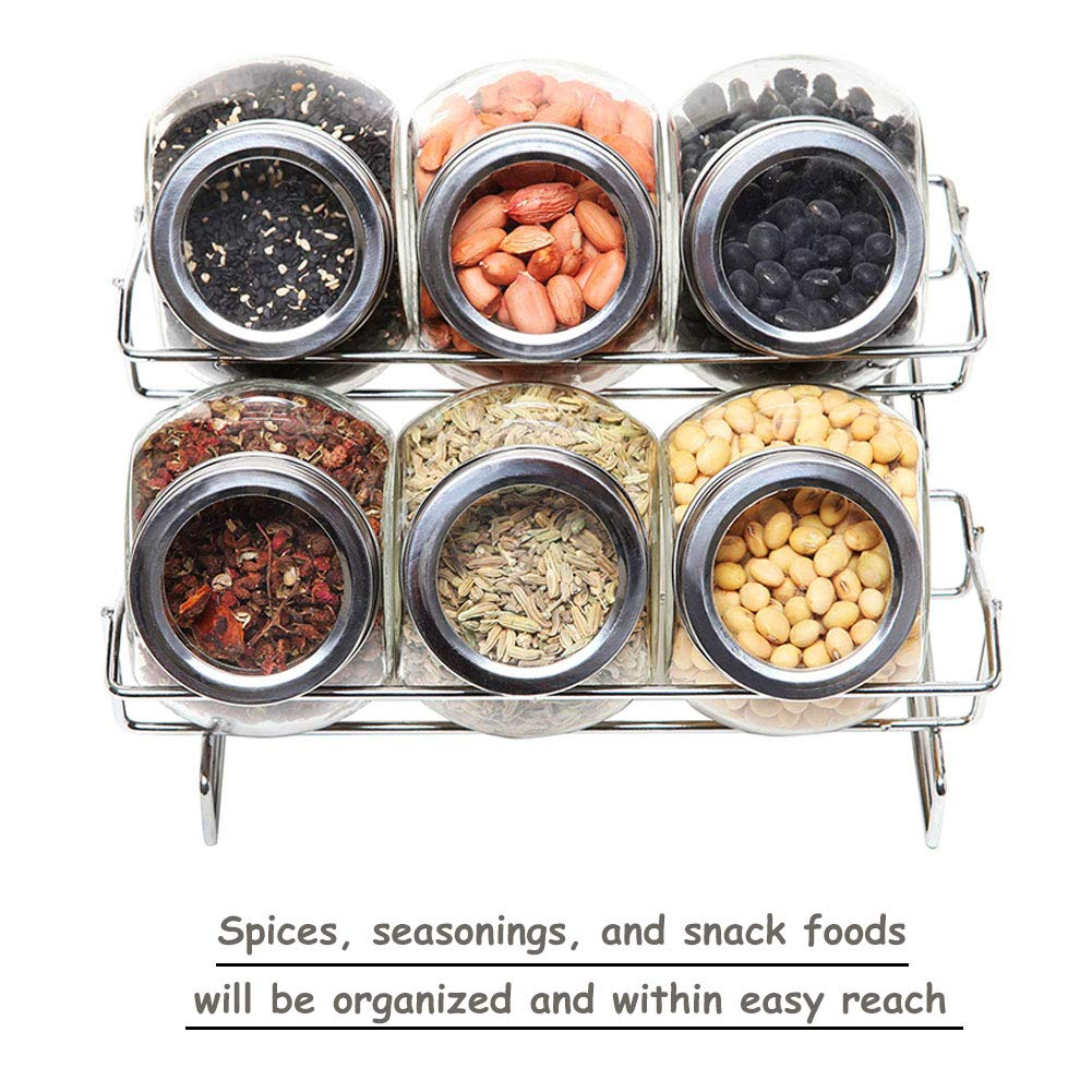 6 jars seasoning bottles set glass storage tank compact rack for kitchen BBQ and camping picnic