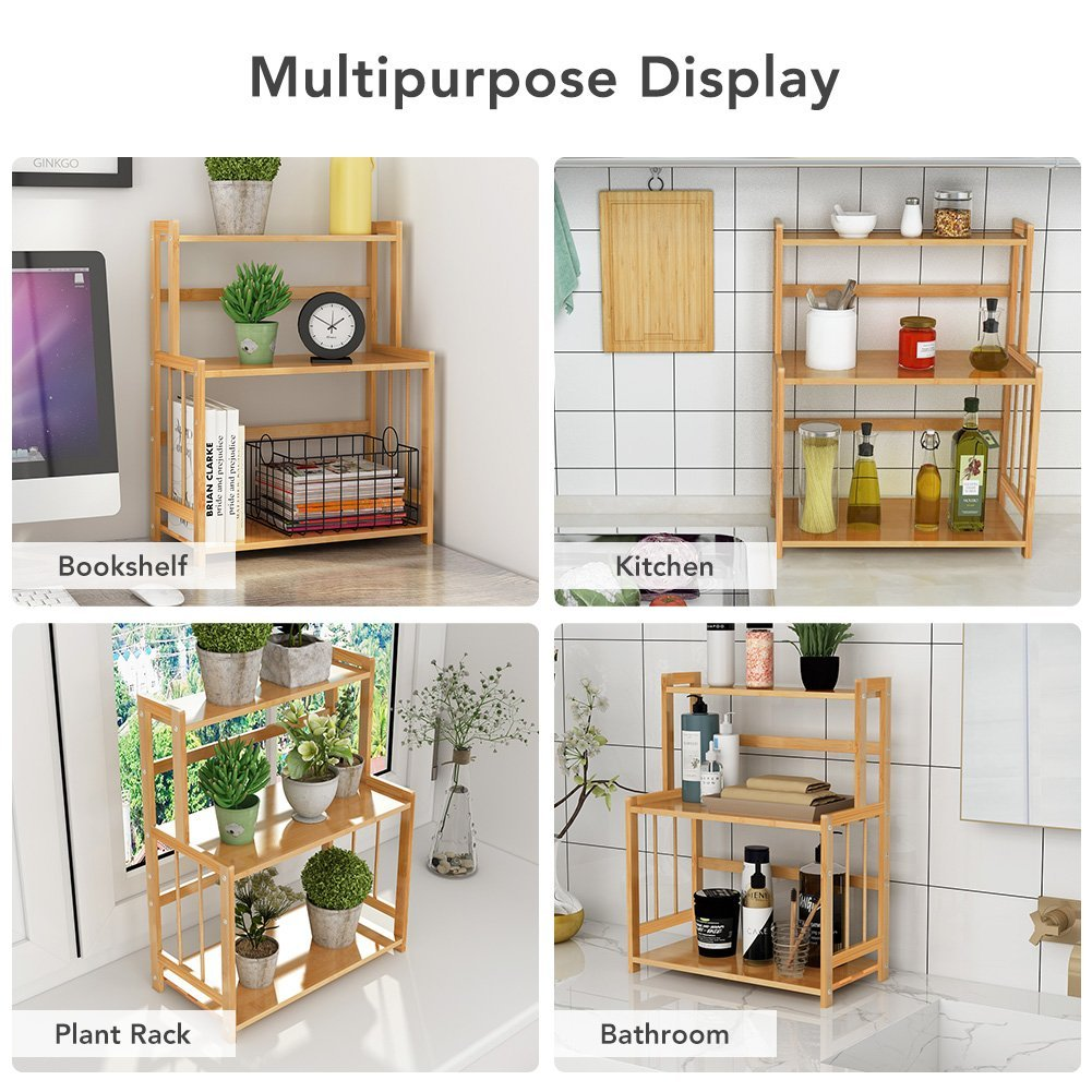 Bamboo kitchen counter top storage organizer  with adjustable shelf
