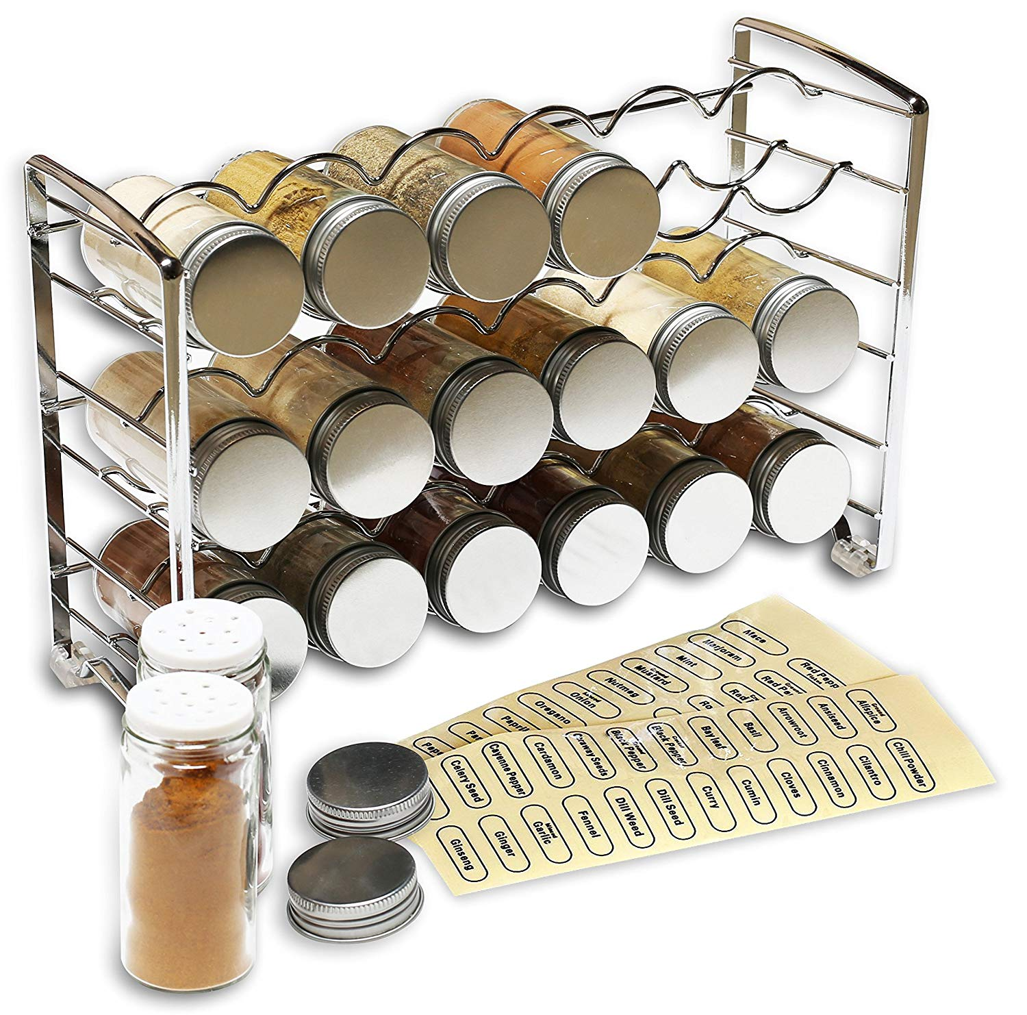 Decobros spice rack holder with 18 bottles and 48 labels