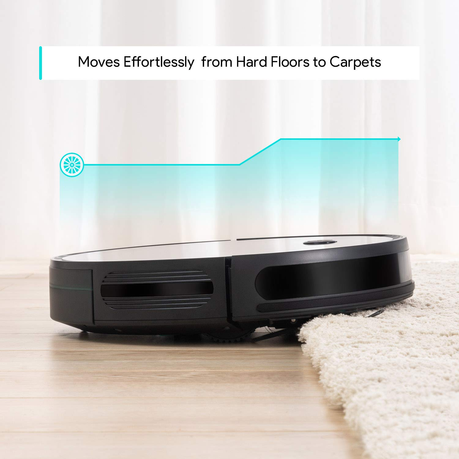 The Deenkee robot cleaner moving effortlessly from carpets and hard floors