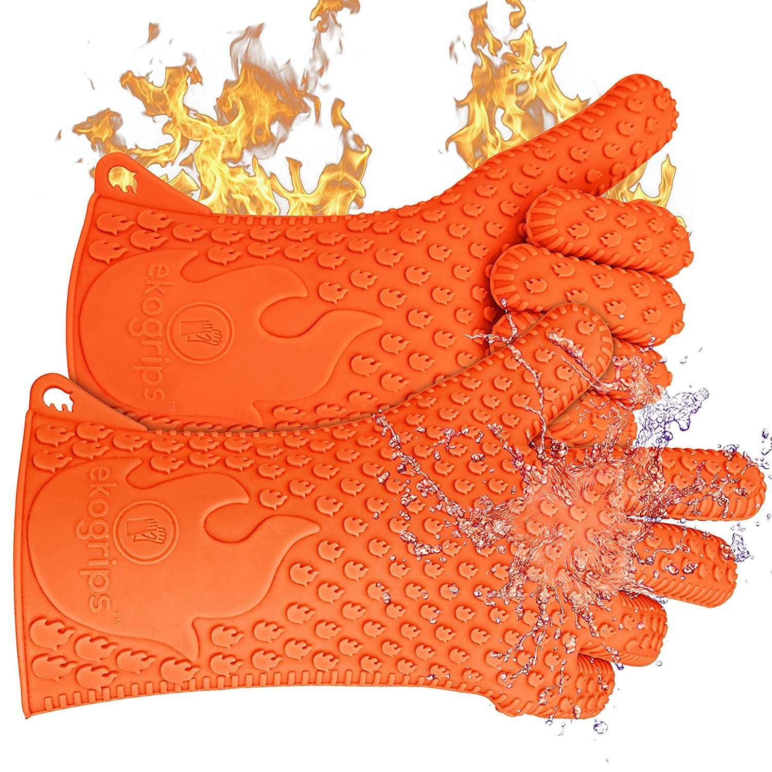 Jolly green silicone heat resistant barbecue grill gloves