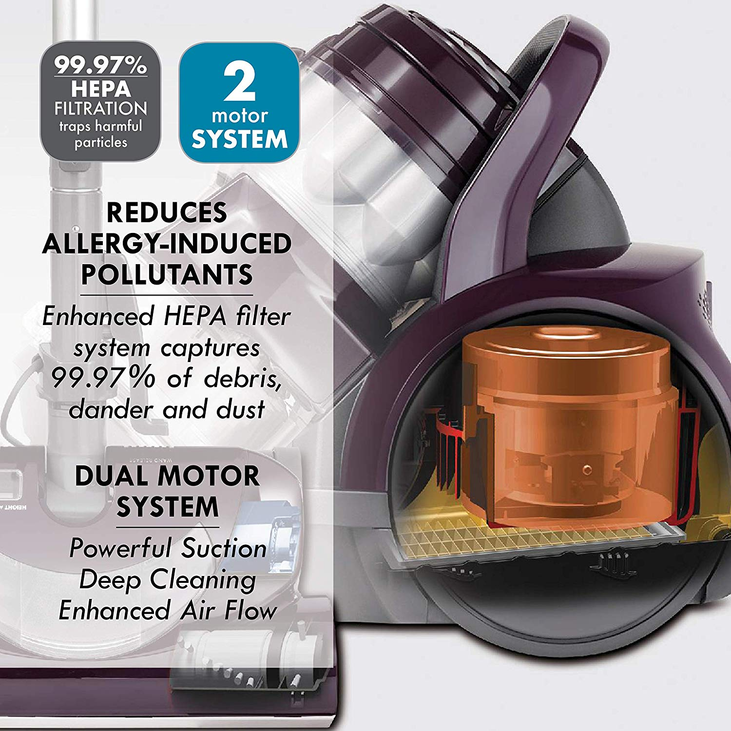 sample of the kenmore vacuum cleaner showing it's various features and design