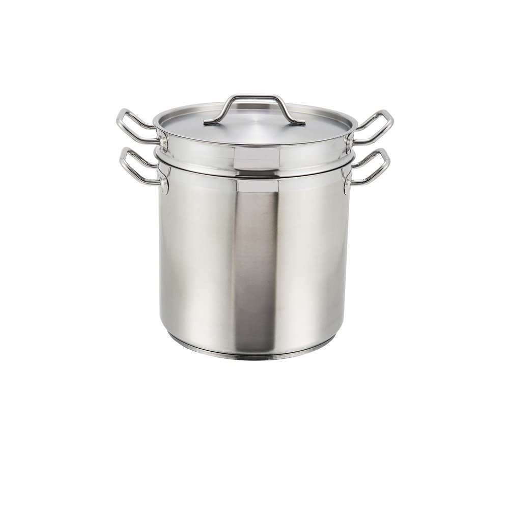 winco commercial stainless steel double boiler with cover
