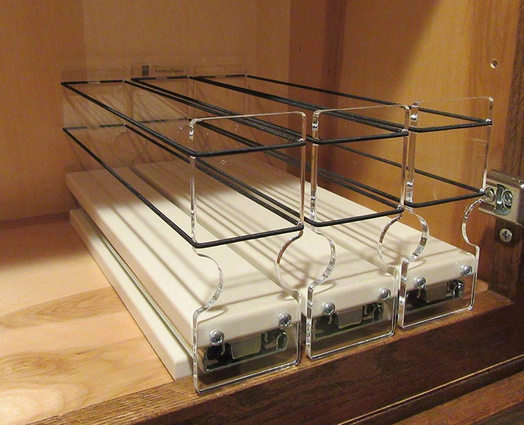 easy access vertical spice rack for cabinet 15 capacity and 3 drawers