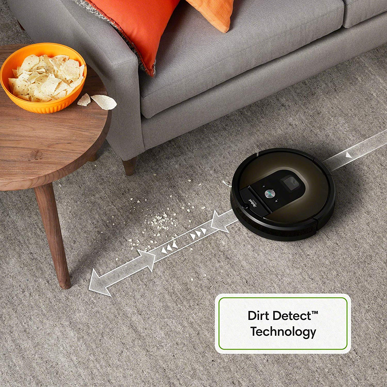 The iRobot vacuum cleaner has high dirt detection technology for hardwood floors and pets hairs