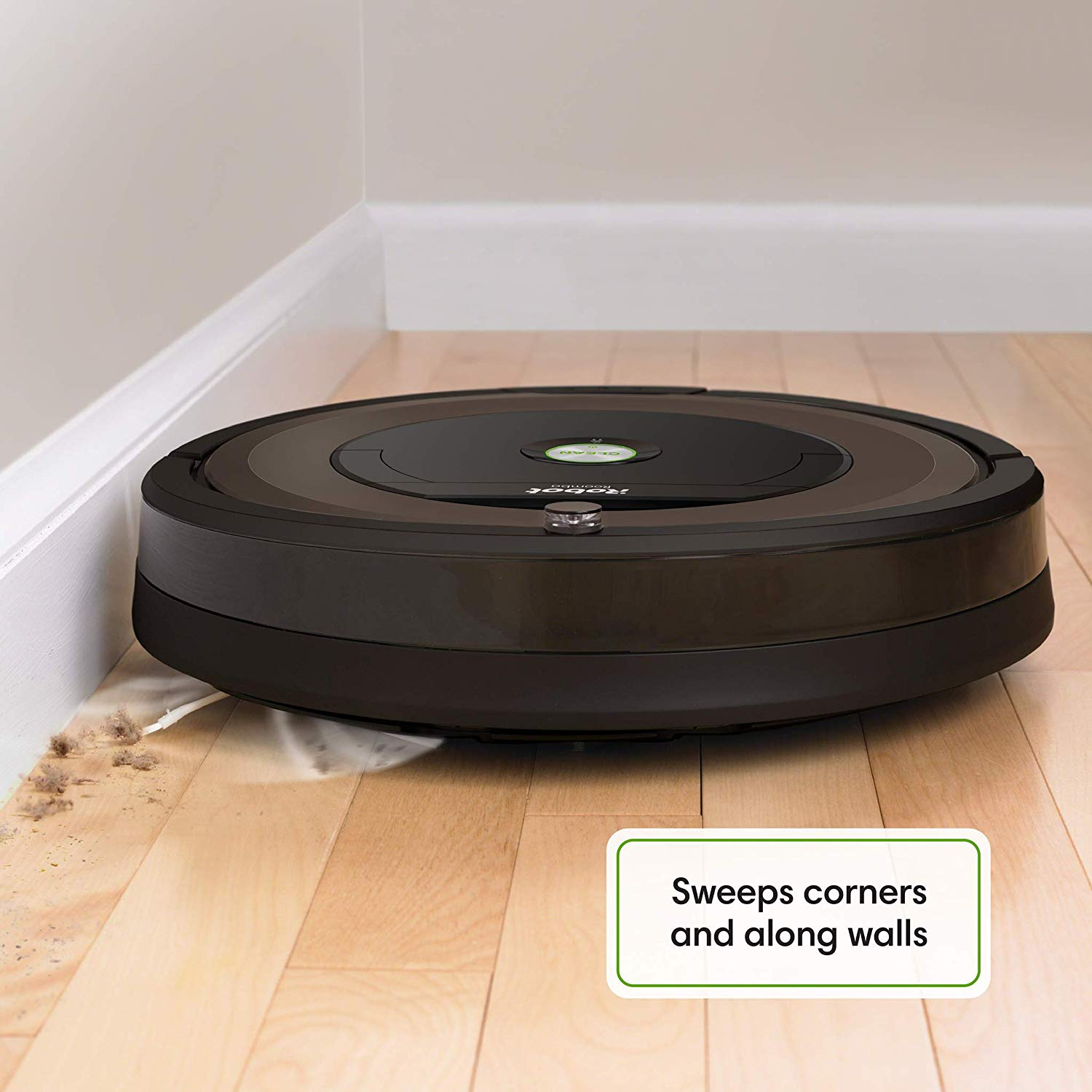 iRobot 890 roomba robot vacuum cleaner sweeping along walls and corners, best irobot vacuum cleaner for hardwood floors and pets hairs