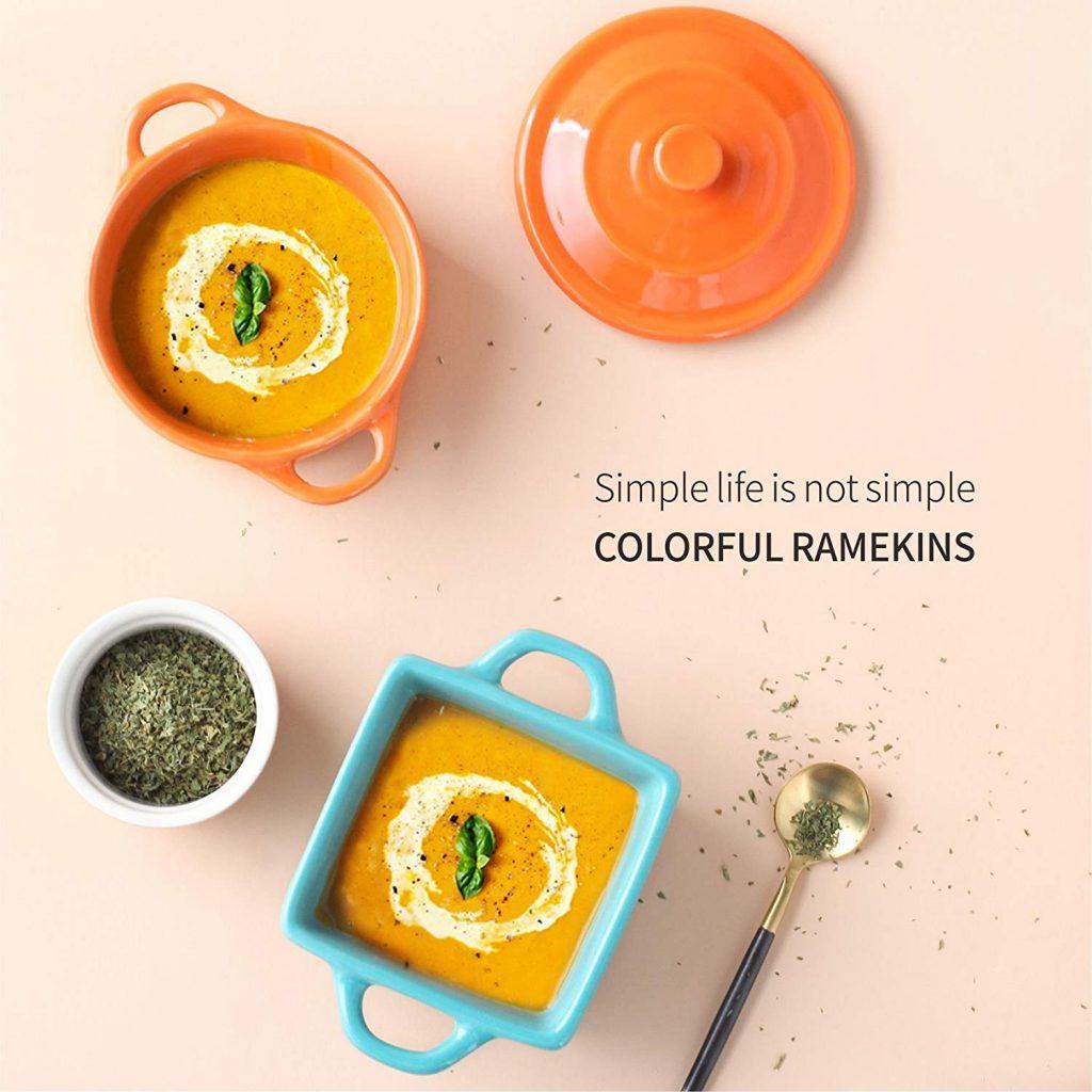 porcelain ramekins with handles and lids