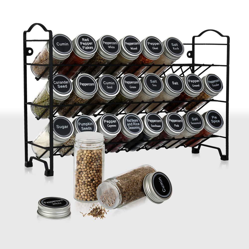 spice rack holders with labels with 24 empty round spice jars