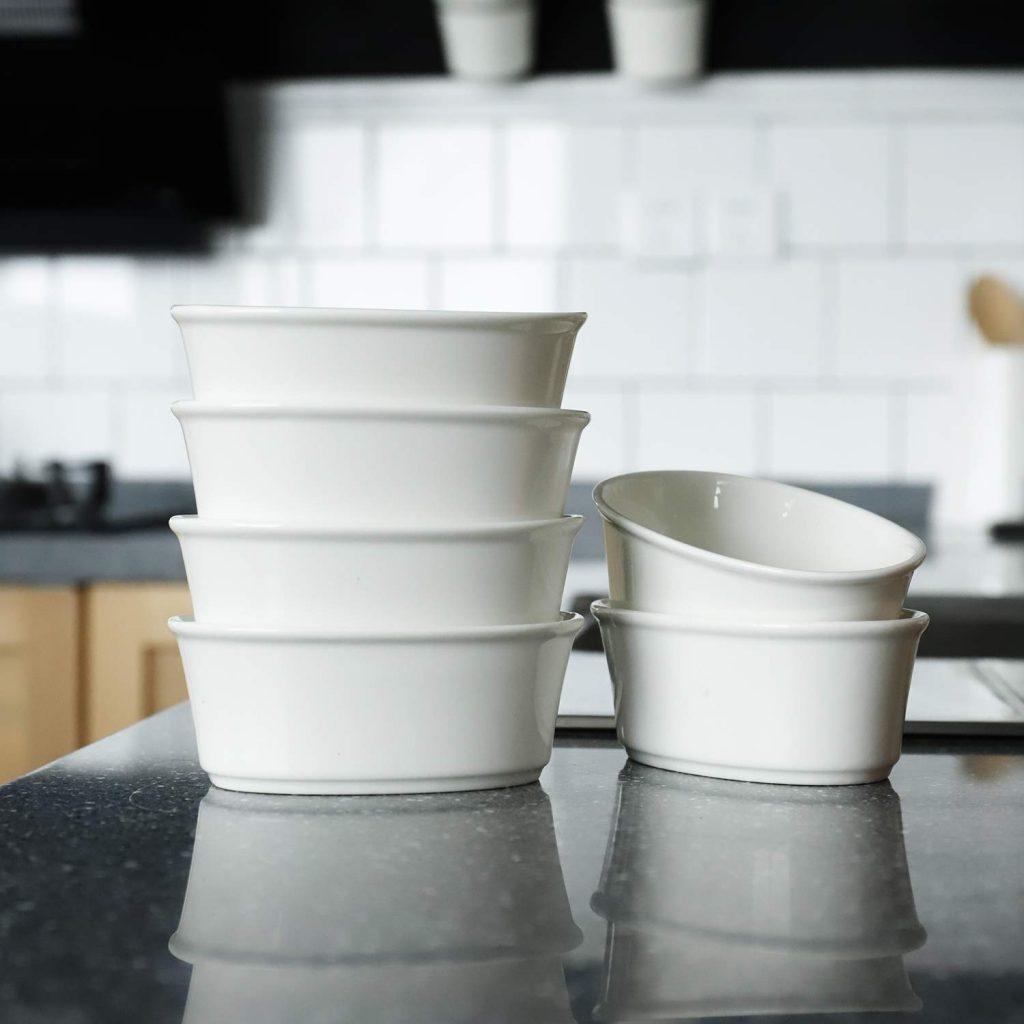 sweese 506.001 porcelain souffle dishes 6 ounce oval ramekins
