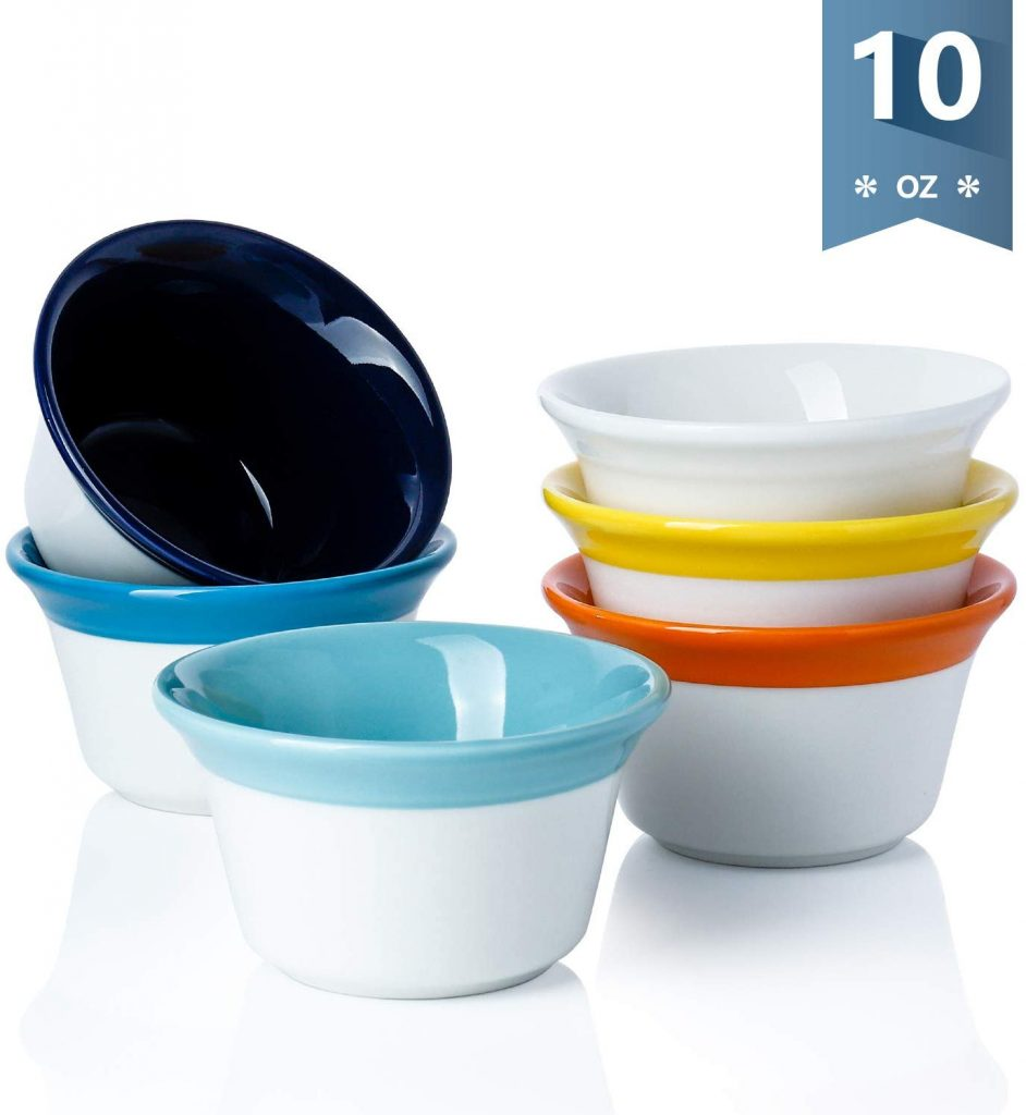set of 6 hot assorted color ramekins porcelain souffle dish that are oven safe