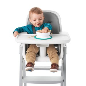 Baby on Chair eating with Oxo Toddler Bowl
