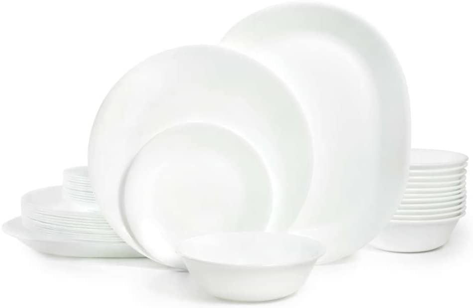 Lead and cadmium Corelle Dinnerware white frost set, 38 Piece, Service for 12