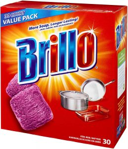 Brillo pad used on stainless steel cookwares