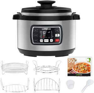 Electric Pressure Cooker with rice, saute, egg, steamer, rice functions and recipes