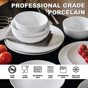 Euro Ceramica White Dinnerware dish set for everyday use