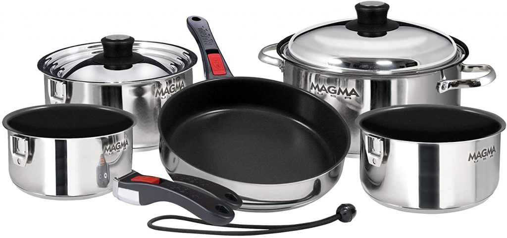 Magma nesting stainless steel cookware set with detachable handles