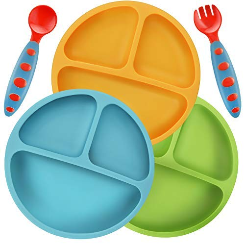 Pandaer Divided and Unbreakable silicone best baby plate
