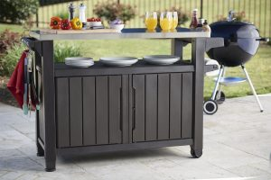 Storage for bbq equipment and grill tool storage cabinet