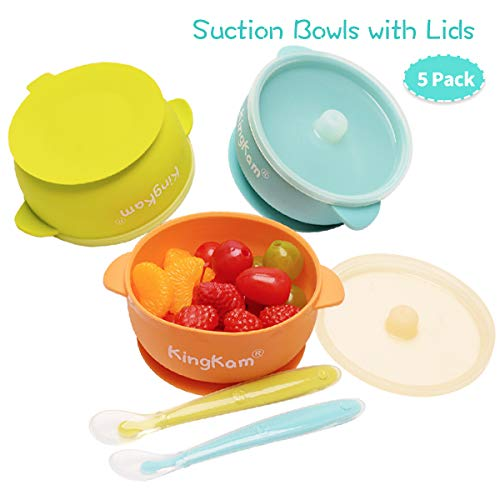 Suction baby plates and bowls with Lids