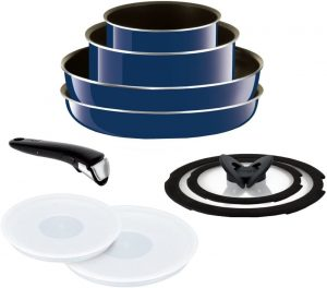 T-fal Grand Bleu stackable pots and pans with removable handles