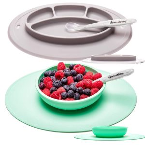 Upward toddler and baby plates with suction