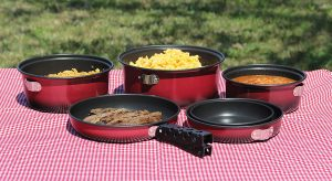 Camping frying Pan and Pots with stackable Cook set