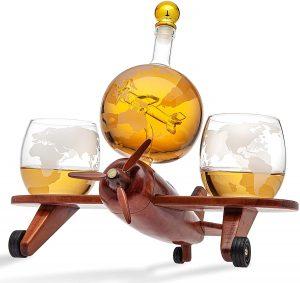 Godinger globe whiskey airplane decanter