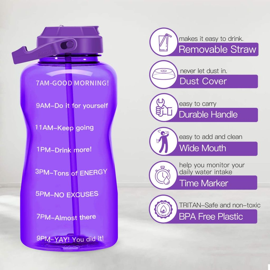 Motivational BPA free Gallon water Bottle