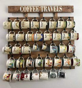 Rustic wood coffee rack mug collection display