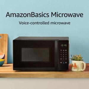 Compact AmazonBasics Microwave with Alexa Voice Control