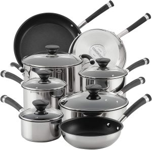 Circulon stainless steel pots and pans suitable for all kinds of stovetops including induction and electric