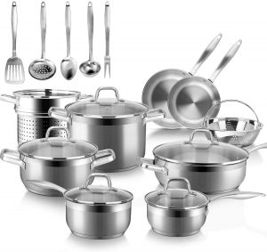 Duxtop stainless steel cookware set for electric, gas, induction and halogen stovetops