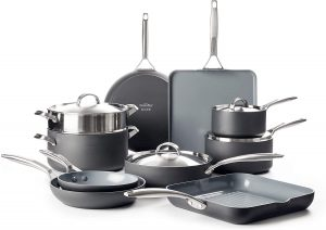 GreenPan Anodized best healthiest non-stick ceramic cookware set for gas and electric stove tops