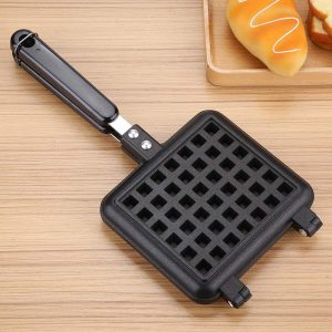 Household waffle iron for fuel gas stove