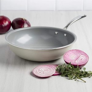 Non-stick ceramic Wok flat bottom for gas and electric stovetops