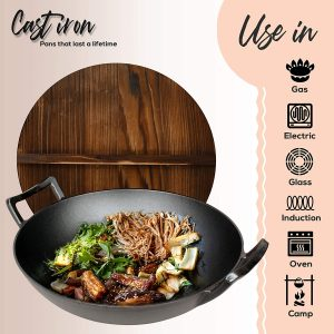 Nutrichef Pre-seasoned cast iron Wok for Electric, gas, ceramic and induction stove tops