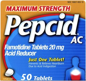 Pepcid heartburn medication tablet for prevention of heartburn and acid reflux